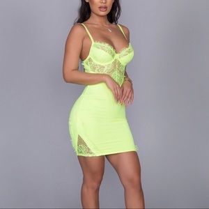 Dresses & Skirts - Sweet Romance Mini Dress-Neon Lime